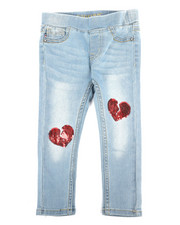 Sizes 2T-4T - Toddler - Pull-On Jeans W/ Heart Sequin Patch (2T-4T)-2289775