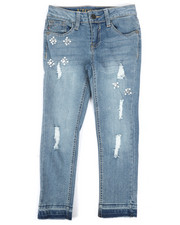 Bottoms - Ankle Skinny Released Hem Jeans W/ Rips, Stones, & Pearl (7-16)-2289820