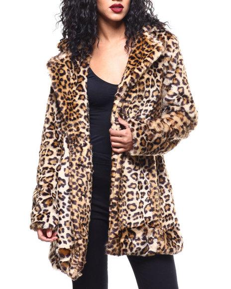 Steve Madden - Single Breasted Leopard Wool Coat