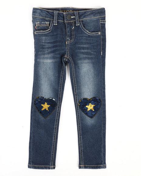 Vigoss Jeans - Skinny Jeans W/ Sequins Heart Knee Patch (4-6X)