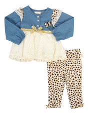 Duck Duck Goose - 2 Piece Denim & Lace Legging Set (Infant)-2290249