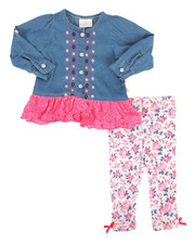 Duck Duck Goose - 2 Piece Denim & Lace Legging Set (Infant)-2290234