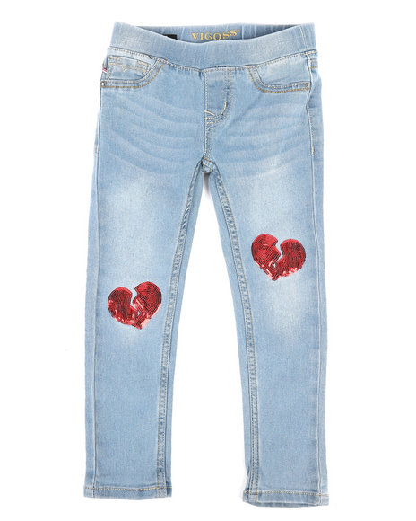 Vigoss Jeans - Pull-On Jeans W/ Heart Sequin Patch (4-6X)