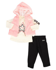 DKNY Jeans - 3 Piece Hooded Vest & Legging Set (Infant)-2290181