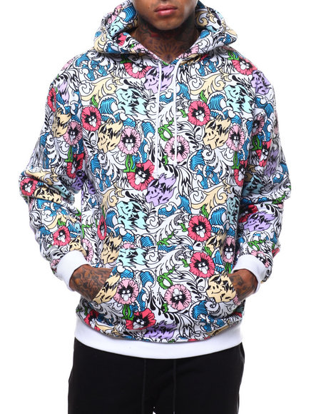 Pink Dolphin - WAVE FLORAL HOODIE
