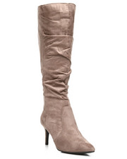 Fashion Lab - Longing Pointy Toe Knee High Boots-2291367