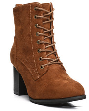 Fashion Lab - Dahlia Lace-Up Chunky Heel Bootie-2292398