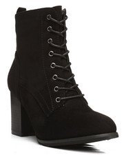 Fashion Lab - Dahlia Lace-Up Chunky Heel Bootie-2292458