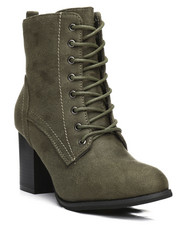Fashion Lab - Dahlia Lace-Up Chunky Heel Bootie-2292346