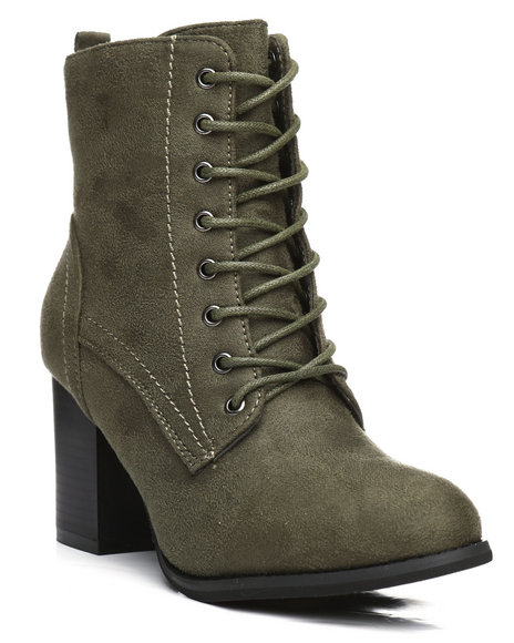 Fashion Lab - Dahlia Lace-Up Chunky Heel Bootie