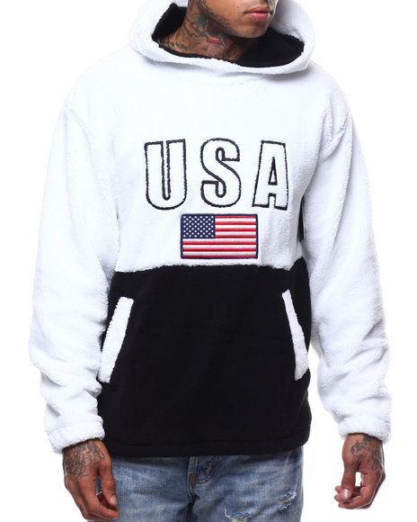 Copper Rivet - Sherpa USA Flag Hoodie