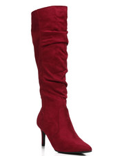 Fashion Lab - Longing Pointy Toe Knee High Boots-2291954