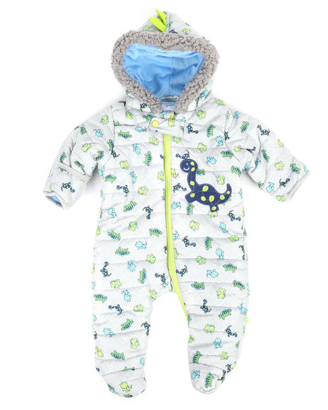 Duck Duck Goose - Dino Print Quilted Pram Suit (Infant)
