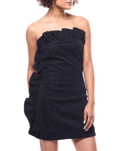 Fashion Lab - Metallic Ruffle Trim Strapless Dress