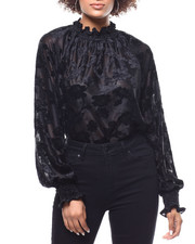 Fashion Lab - Floral Burnout Mock Neck Blouse-2291171