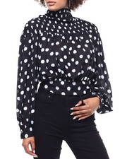 Fashion Lab - Polka Dot Smocked Tie Back Blouse-2291179