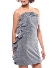 Fashion Lab - Metallic Ruffle Trim Strapless Dress-2291405