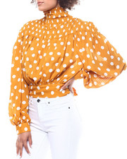 Fashion Lab - Polka Dot Smocked Tie Back Blouse-2291183