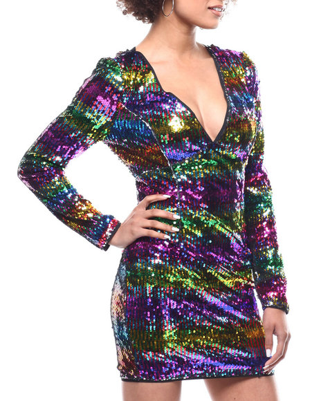 Fashion Lab - L/S V-Neck Sequin Stripe Dress