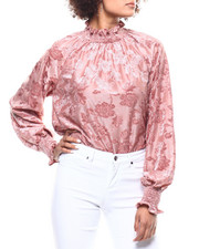 Fashion Lab - Floral Burnout Mock Neck Blouse-2291175