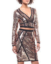 Fashion Lab - L/S Sequin V-Neck Crop Top/ Mini Skirt Set-2293543