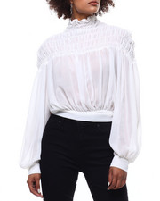 Fashion Lab - Sheer Smocked Tie Back Blouse-2291147