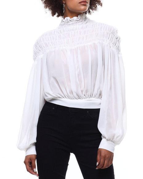 Fashion Lab - Sheer Smocked Tie Back Blouse