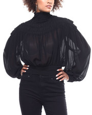 Fashion Lab - Sheer Smocked Tie Back Blouse-2291167