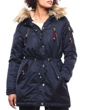 Womens-Winter - FAux Fur Trim Hooded Parka-2292626