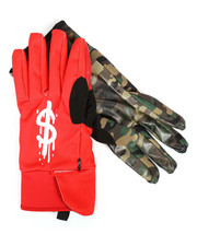 Gloves & Scarves - Left Red / Right Camo Money Drips Gloves-2293444