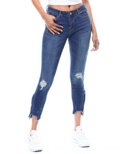 Almost Famous - Zip Ankle Raw Edge Distressed Skinny Jean-2292610