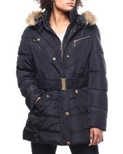 Outerwear - Quilted Bubble Jacket/Belt & Faux Fur Trim-2292631