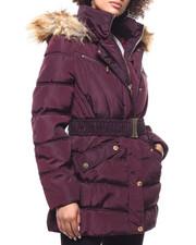 Outerwear - Quilted Bubble Jacket/Belt & Faux Fur Trim-2293247