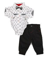 Duck Duck Goose - Dog Print 3Pc Bodysuit & Pant Set (Newborn)-2291008