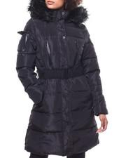 Women - Quilted Bubble Jacket/Belt & Faux Fur Trim Hood-2293292