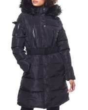 Outerwear - Quilted Bubble Jacket/Belt & Faux Fur Trim Hood-2293292