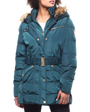 Womens-Winter - Quilted Bubble Jacket/Belt & Faux Fur Trim-2293279