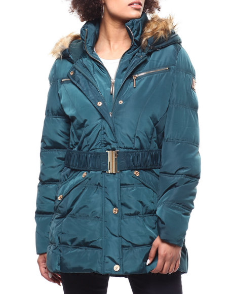 Rocawear - Quilted Bubble Jacket/Belt & Faux Fur Trim