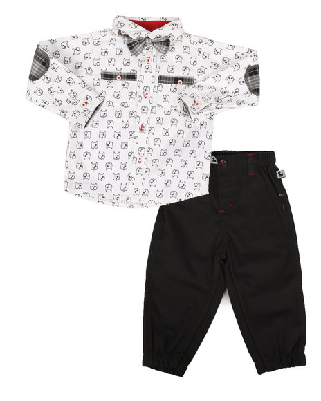 Duck Duck Goose - Dog Print 3Pc Woven Shirt & Pant Set (Infant)