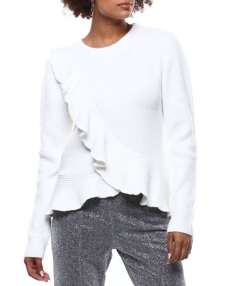 Fashion Lab - Ruffle Front Hem Ribbed Sweater