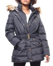 Outerwear - Quilted Bubble Jacket/Belt & Faux Fur Trim-2293256