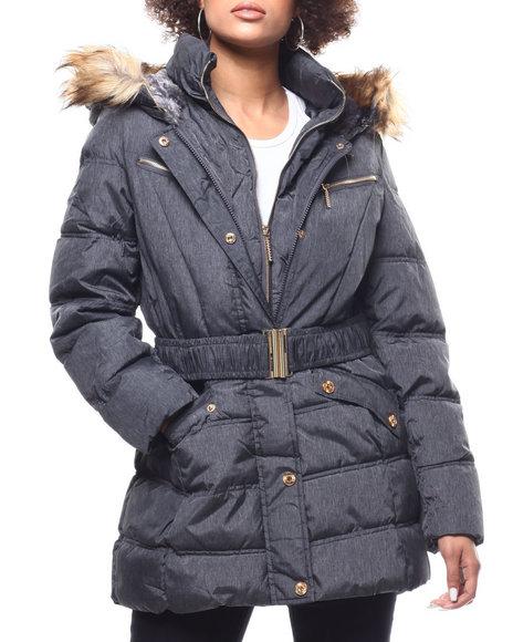 Rocawear - Quilted Bubble Jacket/Belt & Faux Fur Trim