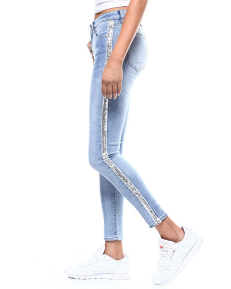 Almost Famous - Sequin Side 5 Pocket Skinny Jean