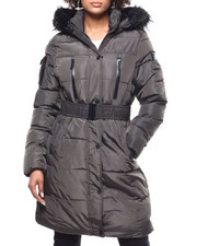 Womens-Winter - Quilted Bubble Jacket/Belt & Faux Fur Trim Hood-2293284