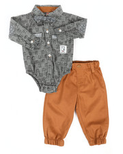 Duck Duck Goose - Dog Print 3Pc Bodysuit & Pant Set (Infant)-2291046