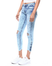 Almost Famous - Zip Ankle Raw Edge Distressed Skinny Jean-2292601