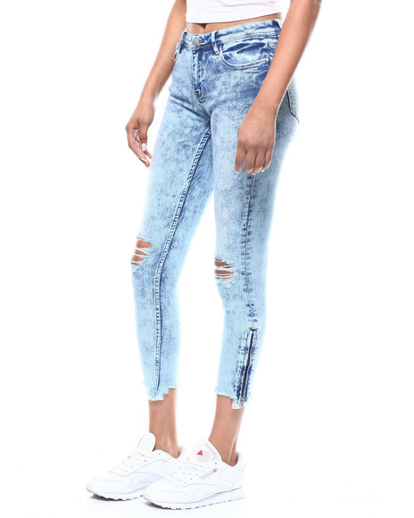 Almost Famous - Zip Ankle Raw Edge Distressed Skinny Jean