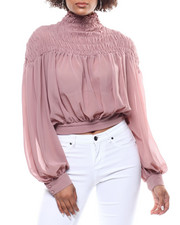 Fashion Lab - Sheer Smocked Tie Back Blouse-2291159