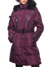 Womens-Winter - Quilted Bubble Jacket/Belt & Faux Fur Trim Hood-2293266