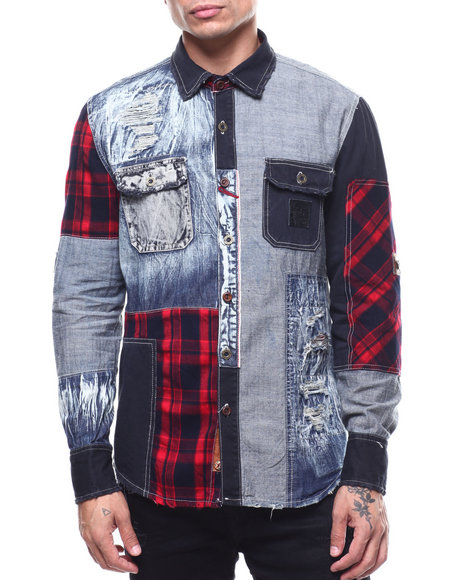 Heritage America - FLANNEL PATCH BUTTON DOWN SHIRT